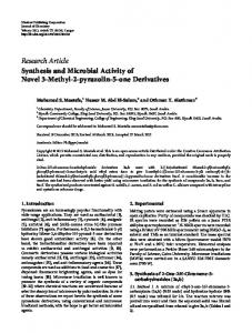 Research Article Synthesis and Microbial Activity of