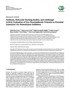Research Article Synthesis, Molecular Docking