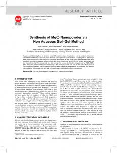 RESEARCH ARTICLE Synthesis of MgO