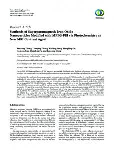 Research Article Synthesis of Superparamagnetic