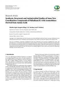 Research Article Synthesis, Structural, and