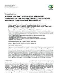 Research Article Synthesis, Structural Characterization, and Thermal