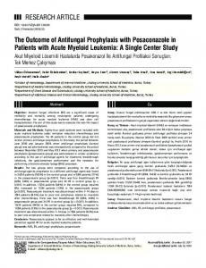 RESEARCH ARTICLE The Outcome of Antifungal ... - JournalAgent