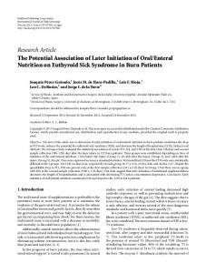 Research Article The Potential Association of Later ... - ScienceOpen