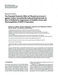 Research Article The Potential Protective Effect of ... - BioMedSearch
