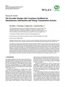 Research Article The Precoder Design with ...