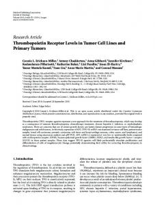 Research Article Thrombopoietin Receptor Levels in ... - ScienceOpen