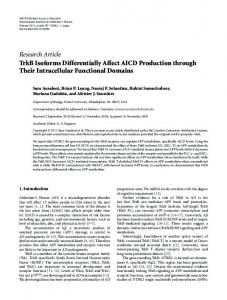 Research Article TrkB Isoforms Differentially Affect ... - ScienceOpen