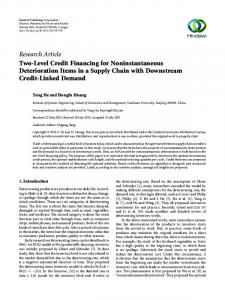 Research Article Two-Level Credit Financing for Noninstantaneous