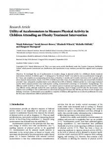 Research Article Utility of Accelerometers to Measure ... - ScienceOpen