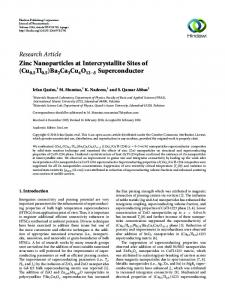 Research Article Zinc Nanoparticles at Intercrystallite