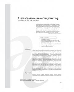 Research as a means of empowering - SciELO Colombia