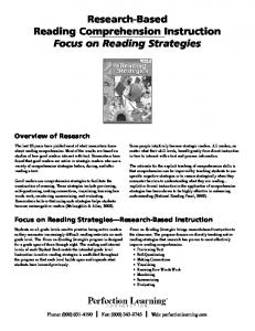 Research-Based Reading Comprehension Instruction Focus on ...