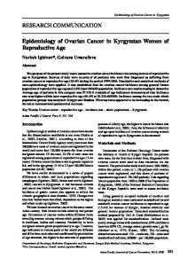 RESEARCH COMMUNICATION Epidemiology of Ovarian Cancer in ...