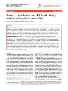 Research contributions on childhood obesity from