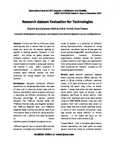 Research dataset Evaluation for Technologies