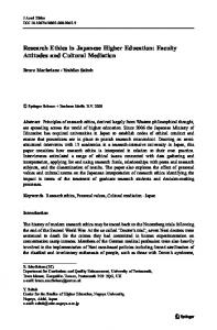 Research Ethics in Japanese Higher Education - Faculty of Education
