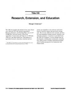 Research, Extension, and Education - USDA ERS