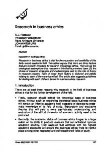 Research in business ethics
