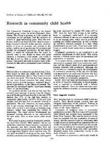 Research in community child health - Europe PMC
