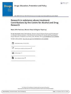 Research in substance abuse treatment ...