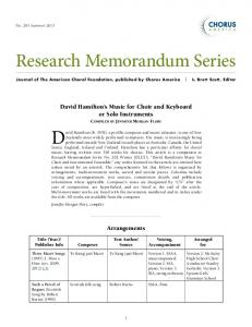 Research Memorandum Series - Chorus America
