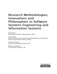Research Methodologies, Innovations and Philosophies in Software ...