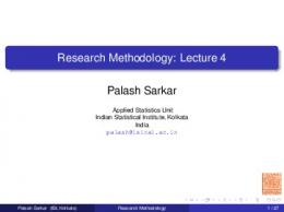 Research Methodology: Lecture 4 - Indian Statistical Institute
