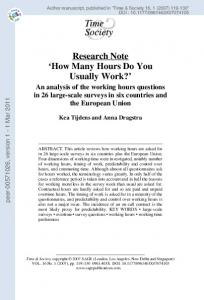 Research Note 'How Many Hours Do You Usually Work?'