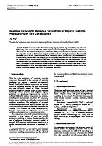 Research on Catalytic Oxidation Pretreatment of