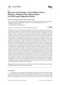 Research on Passenger's Travel Mode Choice Behavior ... - MDPI