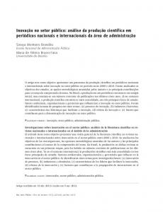 Research on public sector innovation: analysis of scientific literature in