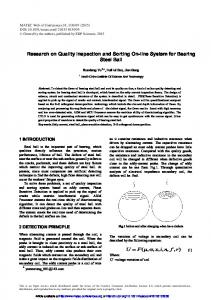 Research on Quality Inspection and Sorting On-line System for ...