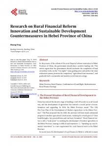 Research on Rural Financial Reform Innovation and Sustainable ...