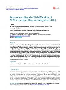 Research on Signal of Field Monitor of 7220A Localizer Beacon ...