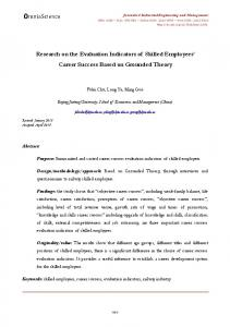 Research on the Evaluation Indicators of Skilled Employees' Career ...