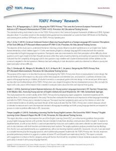 research on the TOEFL Primary Tests - ETS