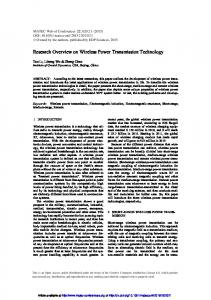 Research Overview on Wireless Power Transmission Technology