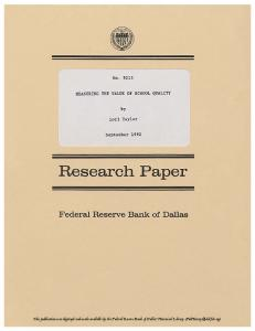 Research Paper - Federal Reserve Bank of Dallas