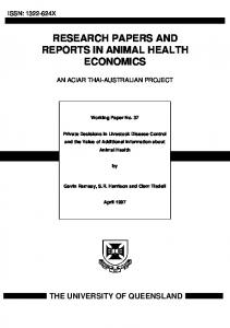 research papers and reports in animal health ... - AgEcon Search