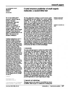 research papers Crystal structure prediction of small organic molecules