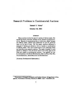 Research Problems in Combinatorial Auctions - CiteSeerX