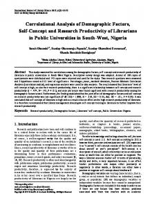 Research productivity, Demographic factors, Librarians' self-concept ...