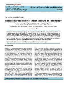 Research productivity of Indian Institute of Technology