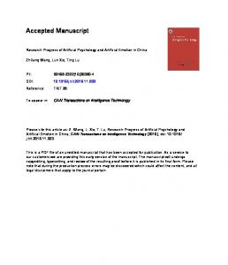 Research Progress of Artificial Psychology and ...
