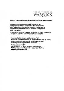 Research Proposal - Warwick WRAP - University of Warwick