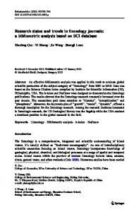 Research status and trends in limnology journals: a ... - Springer Link