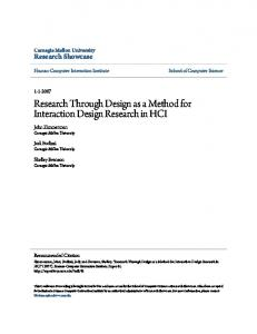 Research Through Design as a Method for Interaction ...