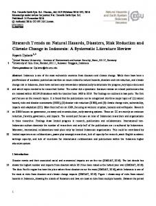 Research Trends on Natural Hazards, Disasters, Risk Reduction and ...