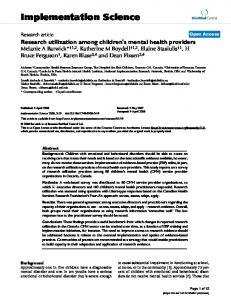 Research utilization among children's mental health providers